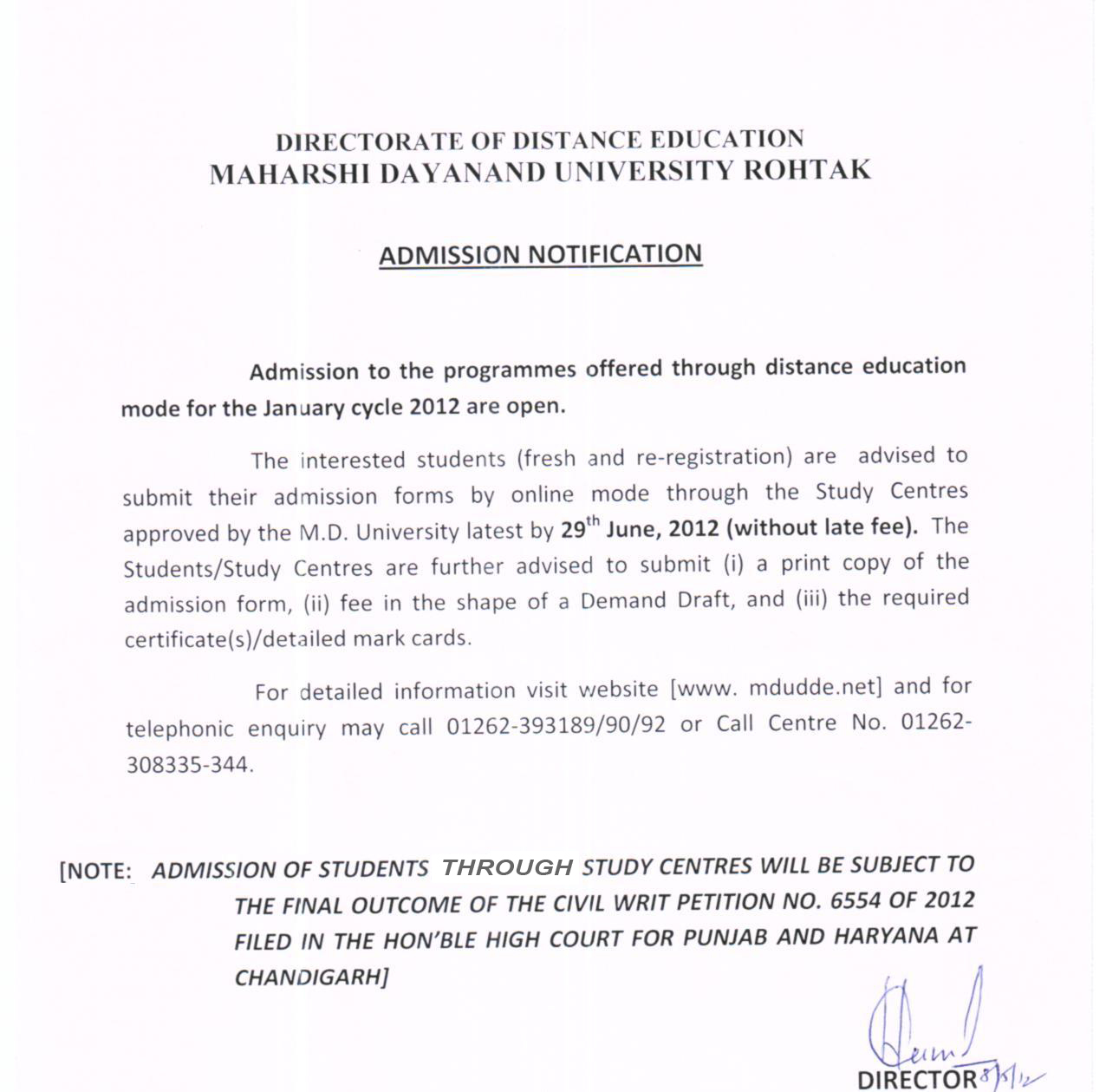 Maharshi dayanand university rohtak admission notification jan 2012 imp letter for students centres yelopaper Gallery