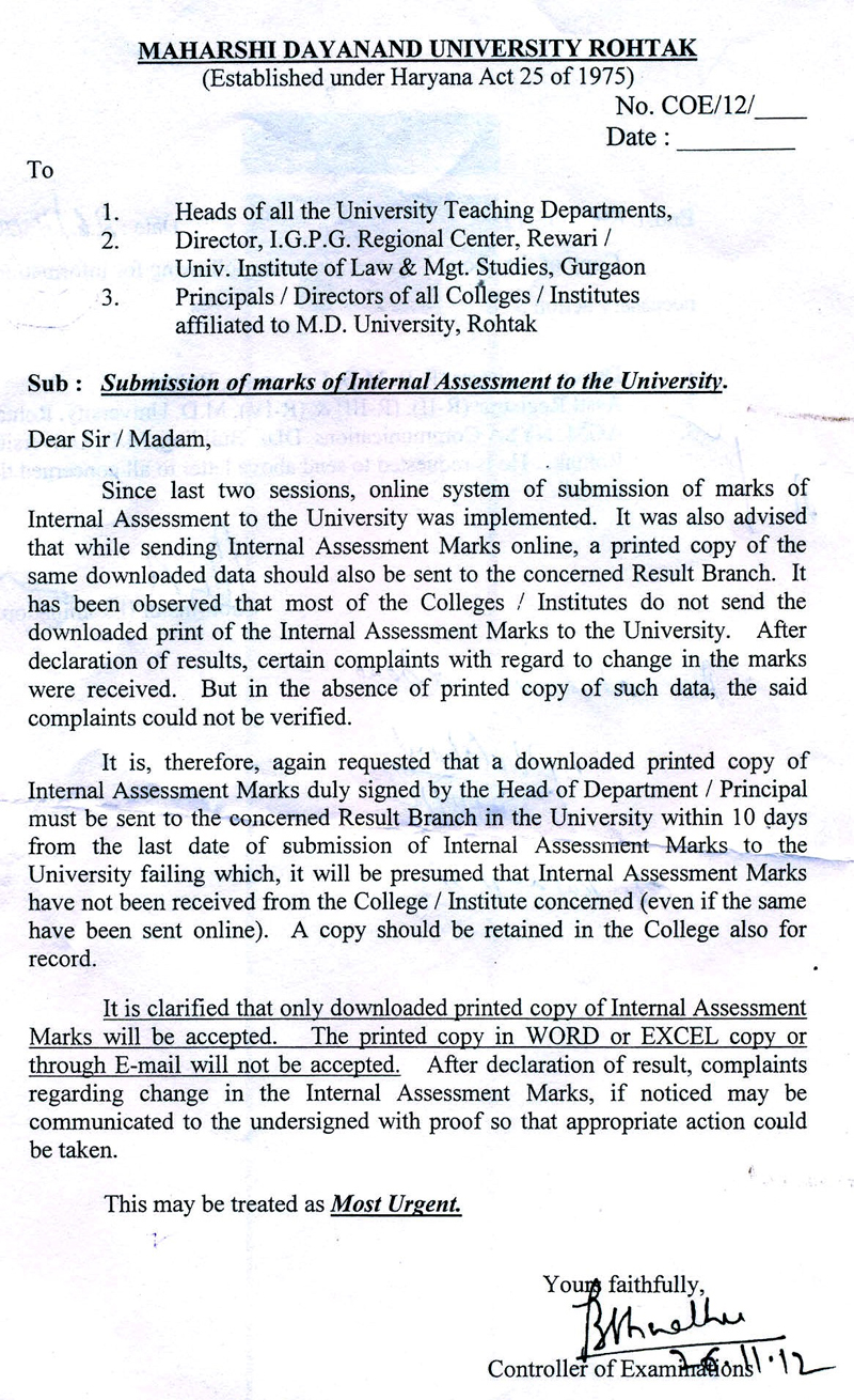 maharshi dayanand university rohtak important letter for internal assessment